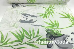 Ранфорс (поплин LUX) 240 см, панда и зелёные листья
