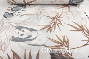 Ранфорс (поплин LUX) 240 см, панда и коричневые листья