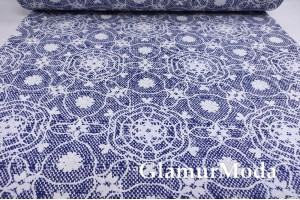 Ранфорс (поплин LUX) 240 см, белые узоры на синем фоне