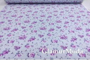 Ранфорс (поплин LUX) 240 см, сиреневые цветы на голубом фоне