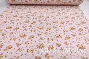 Ранфорс (поплин LUX) 240 см, желтые цветы на розовом фоне