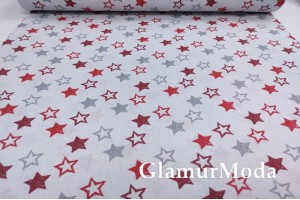 Ранфорс (поплин LUX) 240 см,  серые и красные звездочки на сером фоне