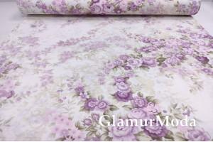Ранфорс (поплин LUX) 240 см, цветочные букеты, сиреневый цвет