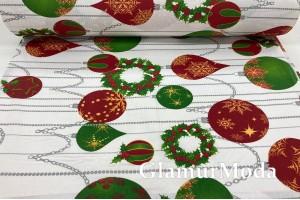 Ранфорс (поплин LUX) 240 см, новогодние игрушки, зеленые и красные цвета