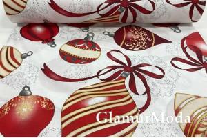 Ранфорс (поплин LUX) 240 см, новогодние игрушки, бордового и красного цвета
