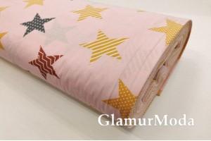 Ранфорс (поплин LUX) 240 см, медовые, черные, бордовые звезды на розово-персиковом фоне