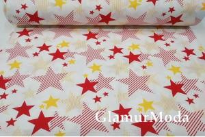 Ранфорс (поплин LUX) 240 см, красно-желтый звездопад на белом фоне 2927