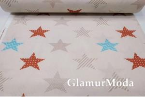 Ранфорс (поплин LUX) 240 см, бирюзовые, терракотовые, кофейные звезды на бежевом фоне