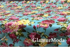 Твил стрейч цветочная поляна на бирюзово-голубом фоне