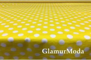 Твил стрейч белые горохи на жёлтом фоне