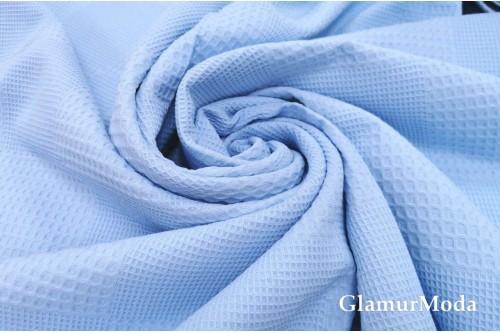 Вафельное полотно 235 см, голубого цвета