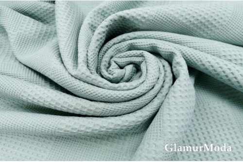 Вафельное полотно 235 см, серо-мятного цвета