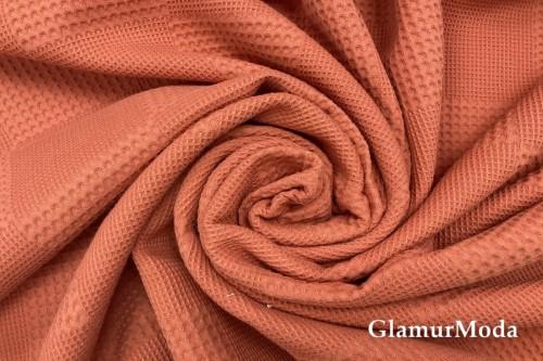 Вафельное полотно 235 см, терракотового цвета
