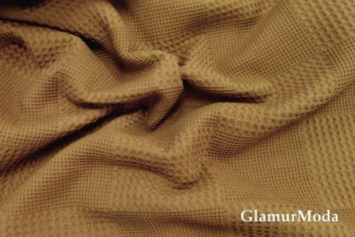 Вафельное полотно 235 см, коричнево-золотого цвета