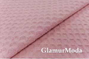 Вафельное полотно 235 см, мелкая клетка, розовый цвет