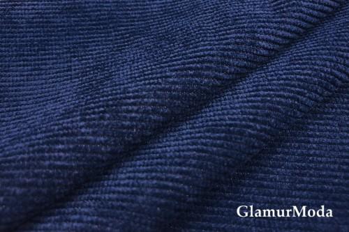 Вельвет со стрейчем синего цвета