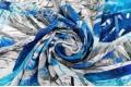 Вискоза крэш TREND, Пальмовые листья сине-серого цвета, арт. PN2054, Турция