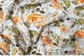 Вискоза-вуаль LAMBDA, оранжевые цветы на серо-белом фоне, Турция, арт. PN2004