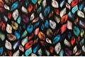 Вискоза Pinar, черная в разноцветные перышки
