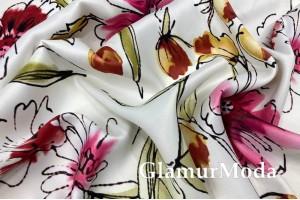 Вискоза Pinar, яркие цветы на белом фоне PN2062