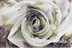 Вуаль с рисунком темно-сиреневые цветы 280 см