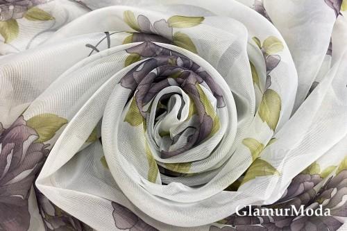 Вуаль с рисунком темно-сиреневые цветы шириной 280 см