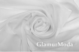 Шелк-вуаль белого цвета с утяжелителем, 330 см, Турция