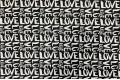 Дак (DUCK), LOVE  на чёрном фоне, 180 см