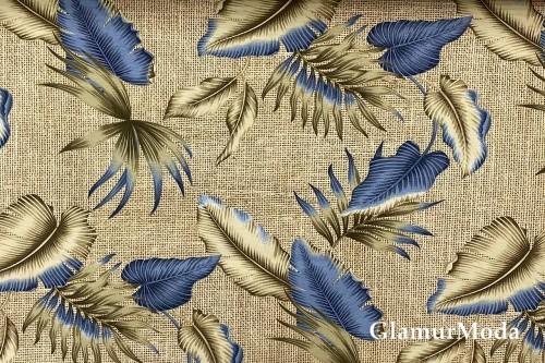 Дак (DUCK), синие листья на бежевом фоне, 180 см