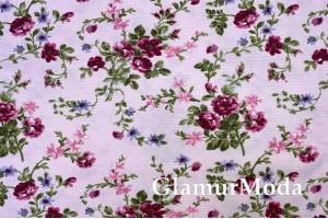 Дак (DUCK), бордовые цветы на нежно-розовом фоне, 180 см