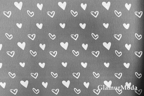Дак (DUCK), белые сердца на сером фоне, 180 см
