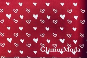 Дак (DUCK), белые сердца на красном фоне, 180 см