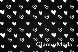 Дак (DUCK), белые сердца на чёрном фоне, 180 см