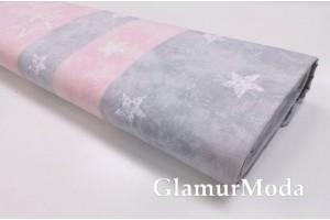 Ранфорс (поплин LUX) звезды на розовых и серых полосах