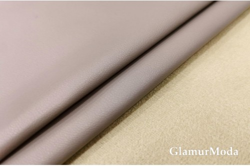 Искусственная кожа на замше серо-сиреневого  цвета